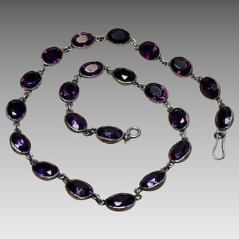 C. 1840 Amethyst Paste Riviere Necklace In Sterling