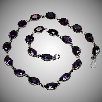 Early Victorian Amethyst Paste Riviere Necklace In Sterling