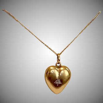 15 CT Heart Locket W/Diamond , C.1900