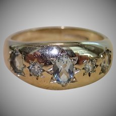 Vintage Ring, Aquamarine , Diamond & 9CT