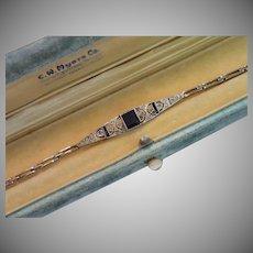 Art Deco 18K , Sapphire & Diamond Bracelet