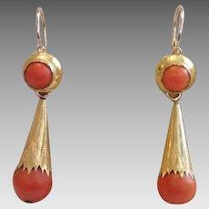 Coral & 18K Day / Night Earrings , C. 1850