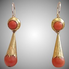 Coral & 18K Day / Night Earrings , C. 1850
