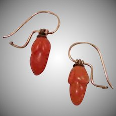 Antique Coral Acorn Earrings