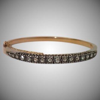 Antique Rose-Cut Diamond & 18K Bracelet , French C. 1880