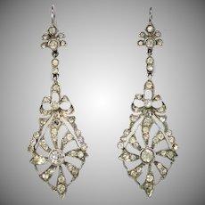Long Edwardian Earrings , Silver & Paste For Pierced Ears