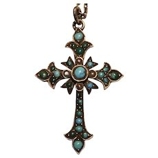 Antique Cross , Silver, Turquoise & Seed Pearls, French C.1890