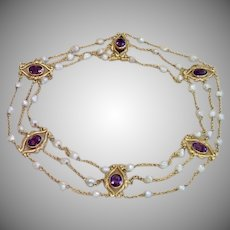 Art Nouveau Collar Necklace , 14K , Amethysts & Natural Pearls