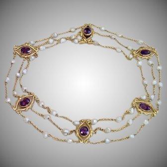 Art Nouveau Collar Necklace , 14K , Amethysts & Natural Pearls