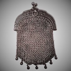 Antique Silver Coin Purse , French C.1880
