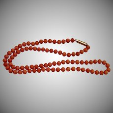 Antique Coral Beads W/ 14K Clasp