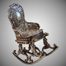 Antique Miniature Silver Rocking Chair, French