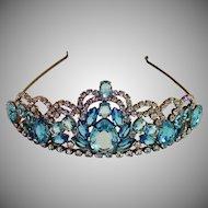 Vintage Tiara , Mid Century Brass & 'Stones'