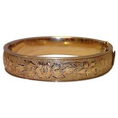 Vintage Bangle Bracelet , 12K Gold Fill , F.M. CO.