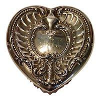 Sterling Heart & Crystal Vanity Jar W/ Puff