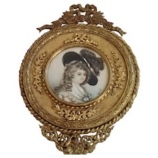 Antique French Bronze Hand Mirror W/ Miniature