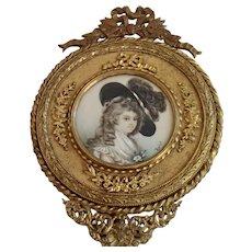 Antique French Bronze Hand Mirror W/ Miniature