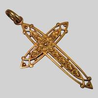18 CT Cross Pendant , Antique French