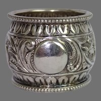 Sterling Repousse  Napkin Ring By J. N. Mappin , London