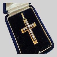 Antique Rose-Cut Diamond Cross , 15 CT. In Original Box
