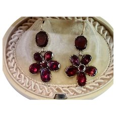 Georgian Garnet Pansy Earrings
