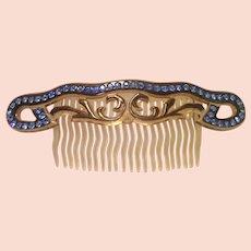 Art Deco Celluloid & Rhinestone Hair Comb