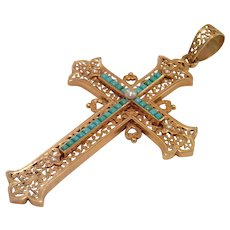 Antique French Cross Pendant, 18CT, Turquoise & Natural Pearl