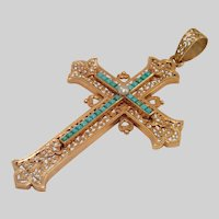 French Cross Pendant, 18CT, Turquoise & Natural Pearl, Antique