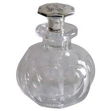 Cut Glass Cologne Bottle , Thumbprint Pattern W/ Sterling Stopper , Large Size