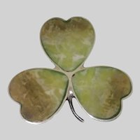 Vintage Three Leaf Clover Pin , Sterling & Green Agate