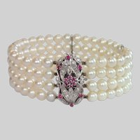 Four Strand Cultured Pearl Bracelet With 18K & Ruby Clasp