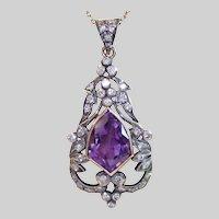 Antique Pendant , Amethyst & Diamond In 18K & Silver