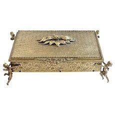Globe 24K Gold-Plated Dresser Box , C. 1960's