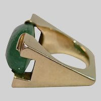 Modern 18K & Green Beryl Ring , French , C.1980
