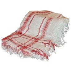 Antique Red & White Damask Tablecloth w/ Fringe