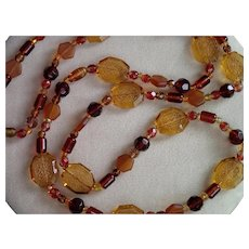 Art Deco Czech Glass Bead Necklace On Silk