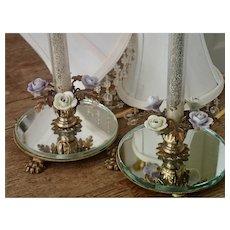 Vintage Italian Boudoir Lamps W/ Porcelain Flowers