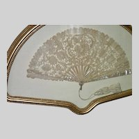 Antique Fan , Brussels Lace & Mother Of Pearl  , Framed