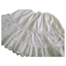 Antique Doll Half Slip , White Cotton