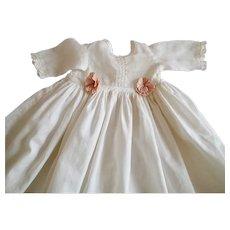 Antique White Cotton Lawn Doll Dress
