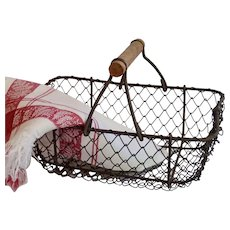 Petite Antique French Wire Basket W/ Two French Napkins