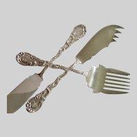 Sterling Sardine Fork & Knife W/ Spreader , Durgin XV