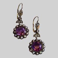 Antique Earrings, Amethysts, Natural Pearls & Rose-Cut Diamonds In Silver-Topped 10K