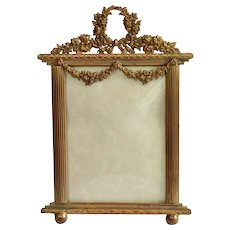 Antique Picture Frame ;  Brass On Copper Easel-Back