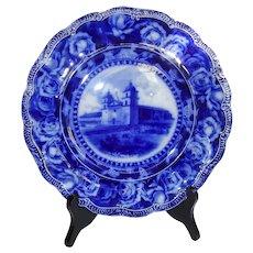 Antique Flow Blue , Mission Santa Barbara Plate , A. A. Poole, C. 1890