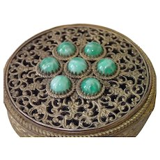 French Compact , 'Jeweled'  Brass, C.1890