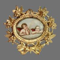 Hand Painted , Gilt framed Porcelain Plaque , Raphael's Angels