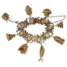 Chinese Export Silver Vermeil Charm Bracelet
