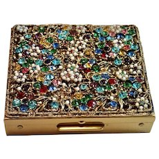 """Vintage """" Jeweled """" S & H  Compact , Fifth Ave. NY"""