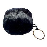 Black Muff W/ Bracelet Handle & Zipper Compartment